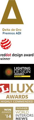 Red Dot Award, Lighting Design Award, Lux Award, Delta Award, World Interiors News Award
