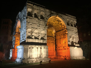 Lighting for the Arch of Janus inspired by the Roman gods