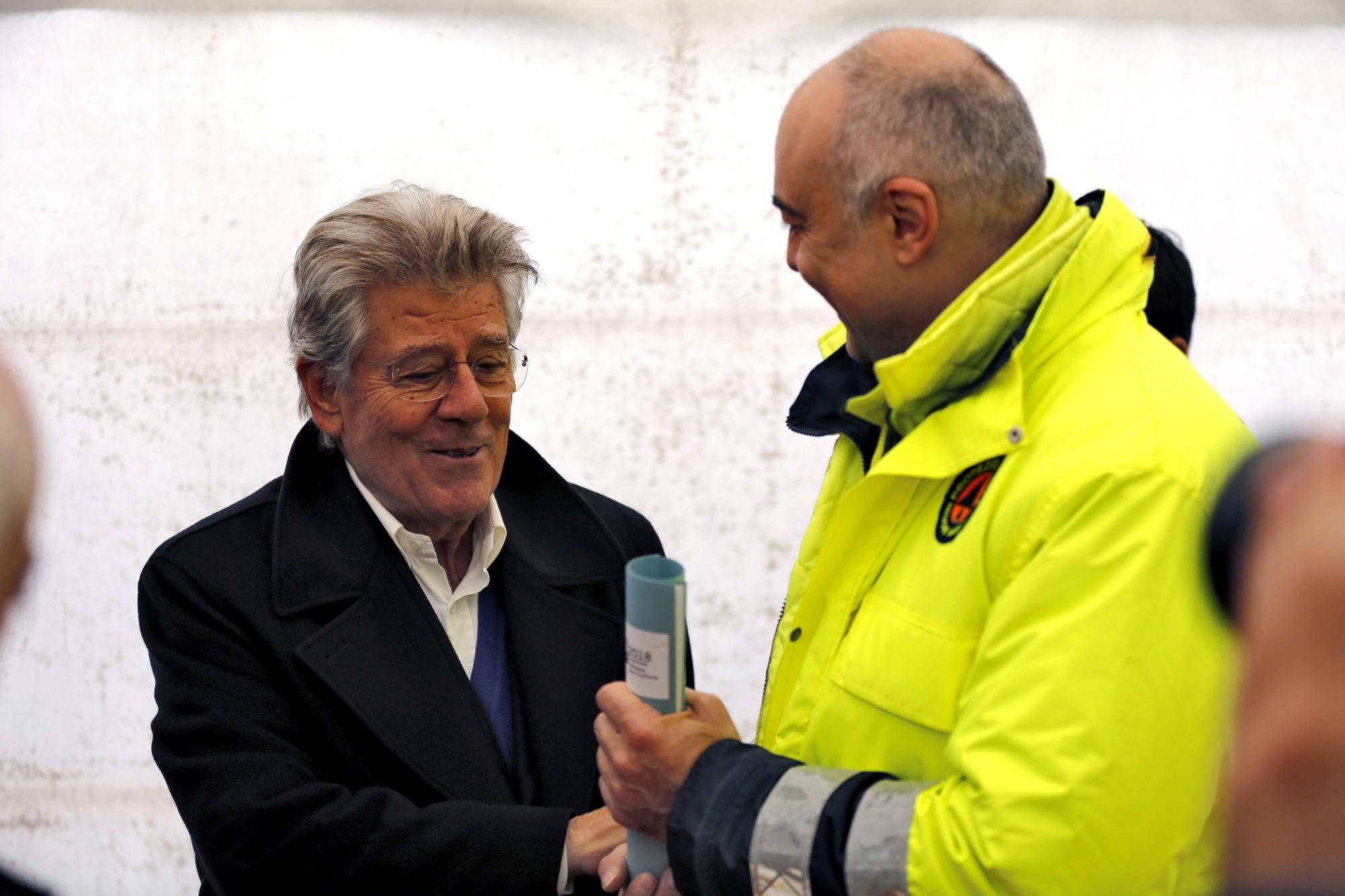 Adolfo Guzzini with Visso Mayor Giuliano Pazzaglini